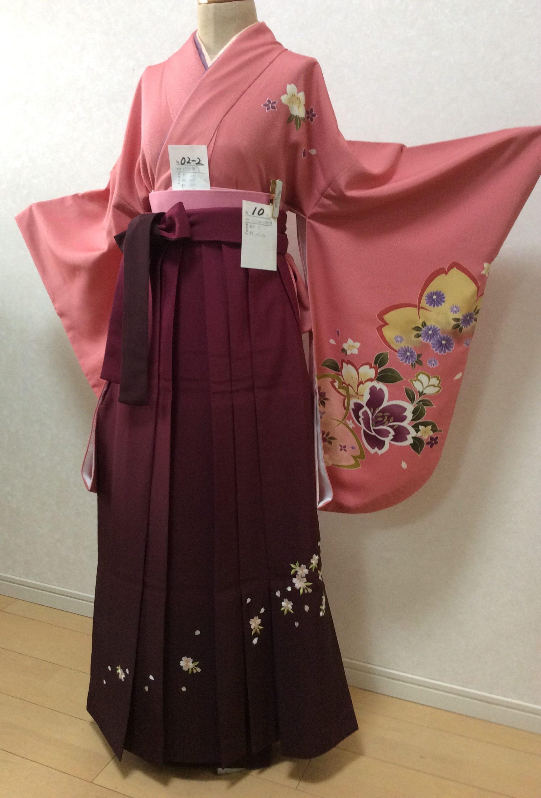 ピンク色の二尺袖丈着物&袴のレンタル卒業式衣装